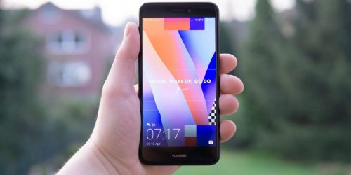 black huawei android smartphone